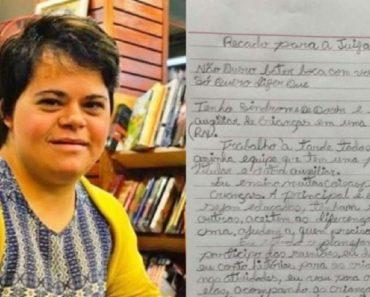 Professora com Down responde a desembargadora do Rio