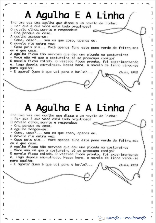 Atividades de Interpretação de texto A Agulha e a Linha
