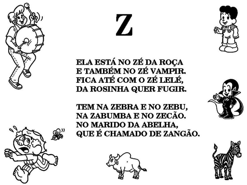 Alfabeto da Turma da Mônica com texto