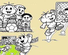 Desenhos para Colorir Copa do Mundo e a Turma da Mônica