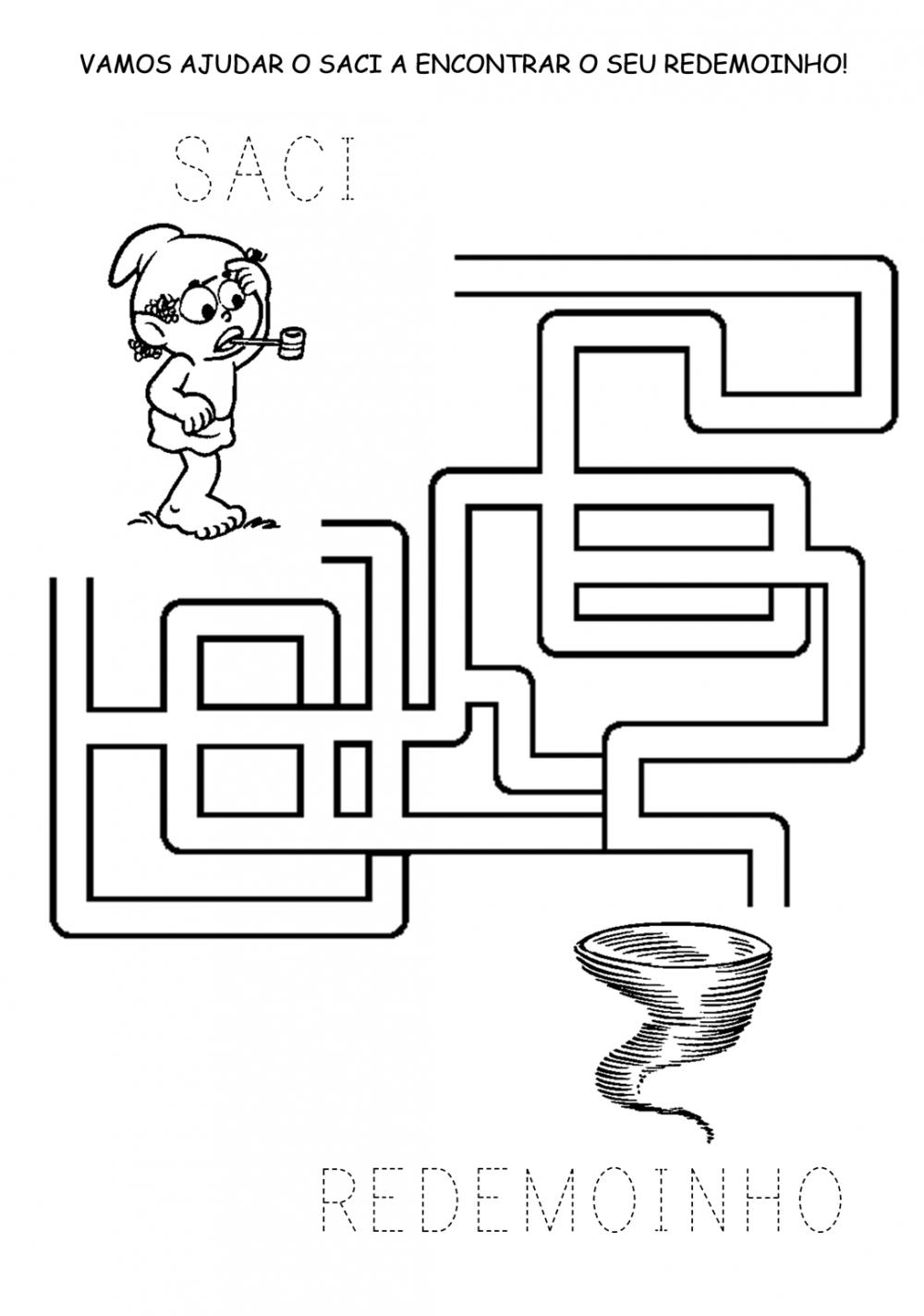 Atividades de Labirinto sobre o Folclore