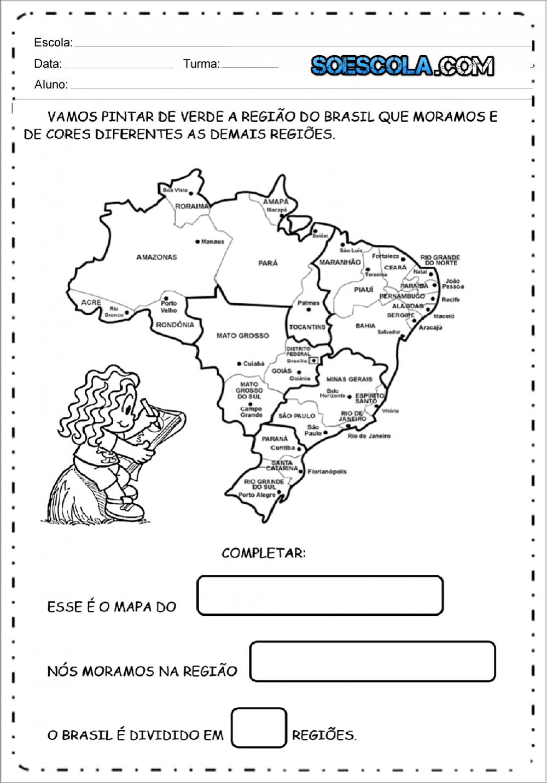 Atividades sobre as Regiões do Brasil para imprimir