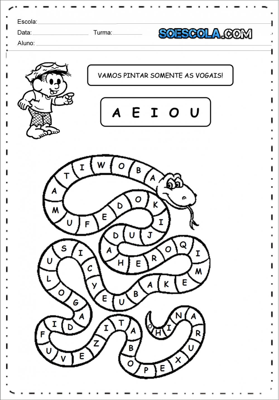 Pinte somente as vogais - Atividade para imprimir