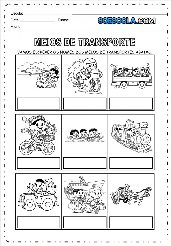 Atividades sobre os Meios de Transportes