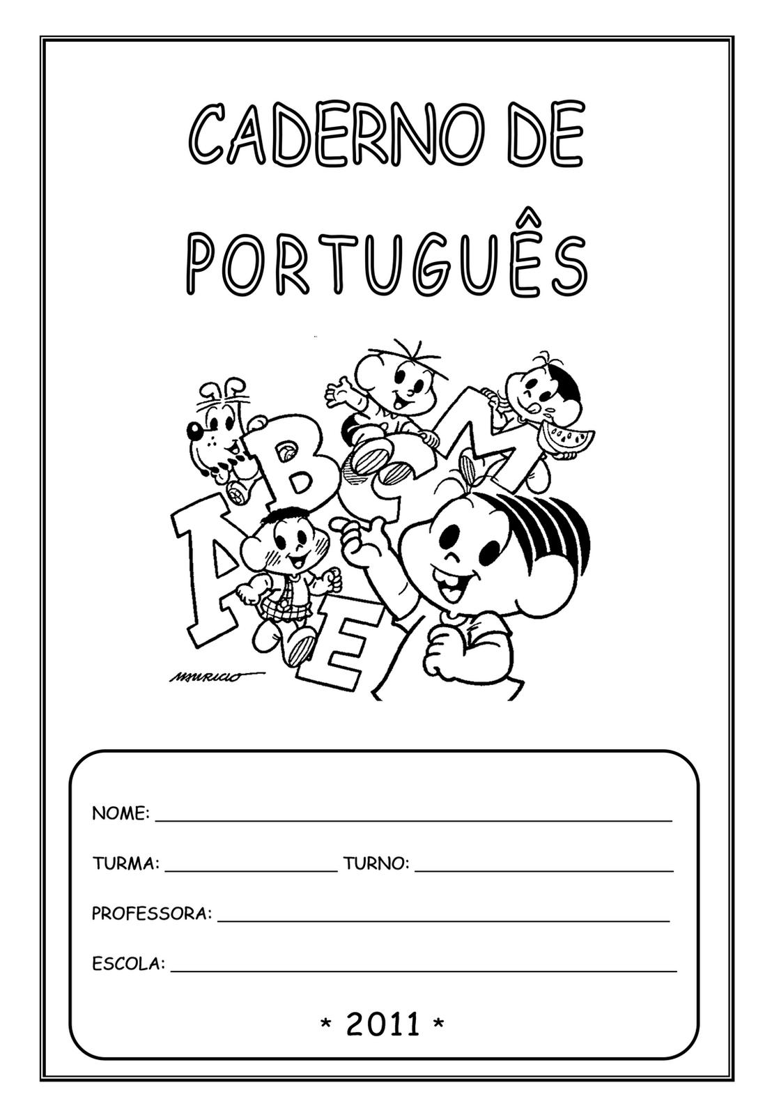 Capas De Caderno Para Imprimir Portugues So Escola