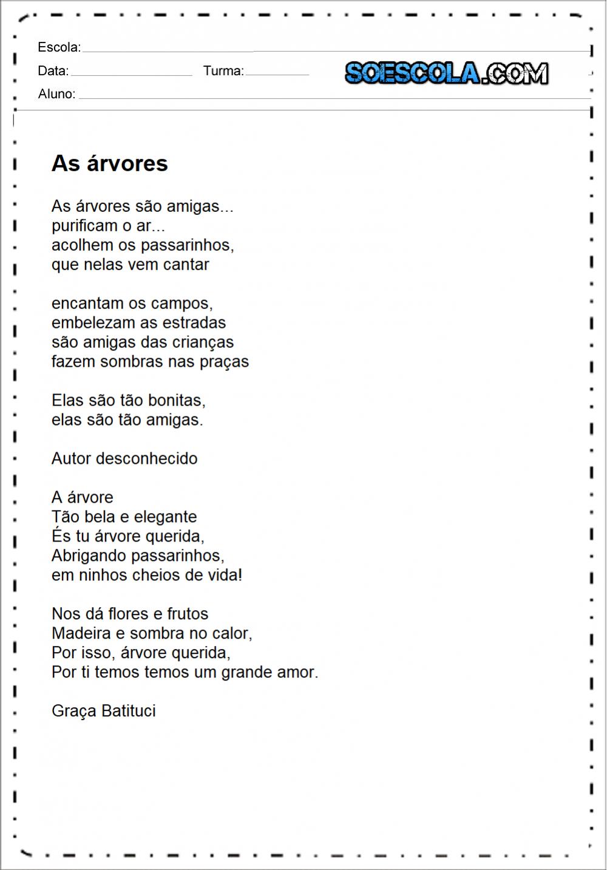 Poema as arvores para imprimir