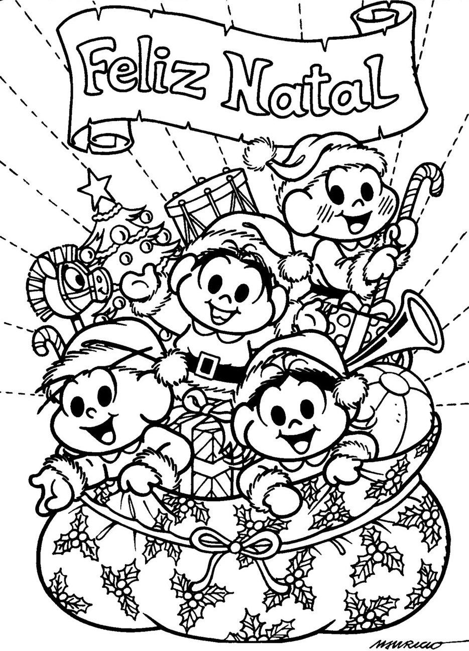 Desenhos De Natal Da Turma Da Monica Para Colorir So Escola