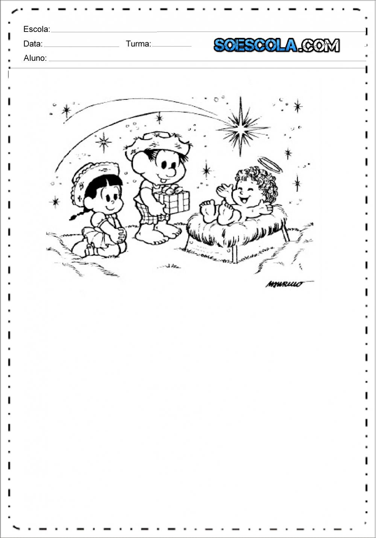 Desenhos de Presépio com a Turma da Mônica