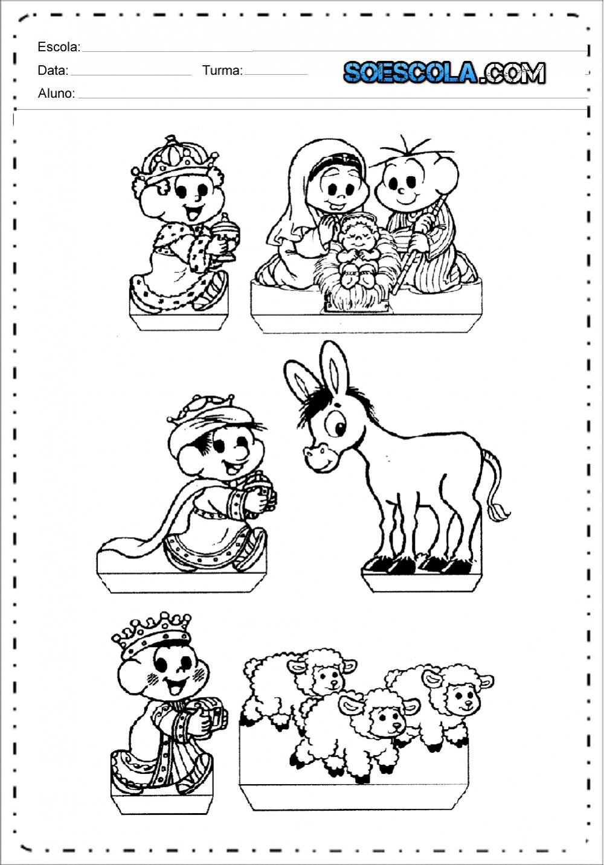 Desenhos de Presépio com a Turma da Mônica para colorir