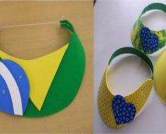 Lembrancinha de Viseira da Bandeira do Brasil