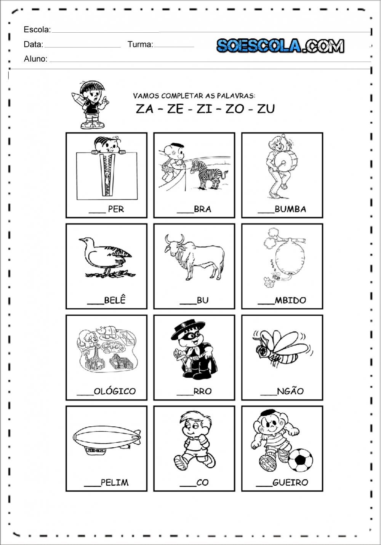 Atividades Família Silábica do Z para imprimir