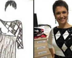 Sandra Annenberg usa vestido desenhado por jovem autista em premiação