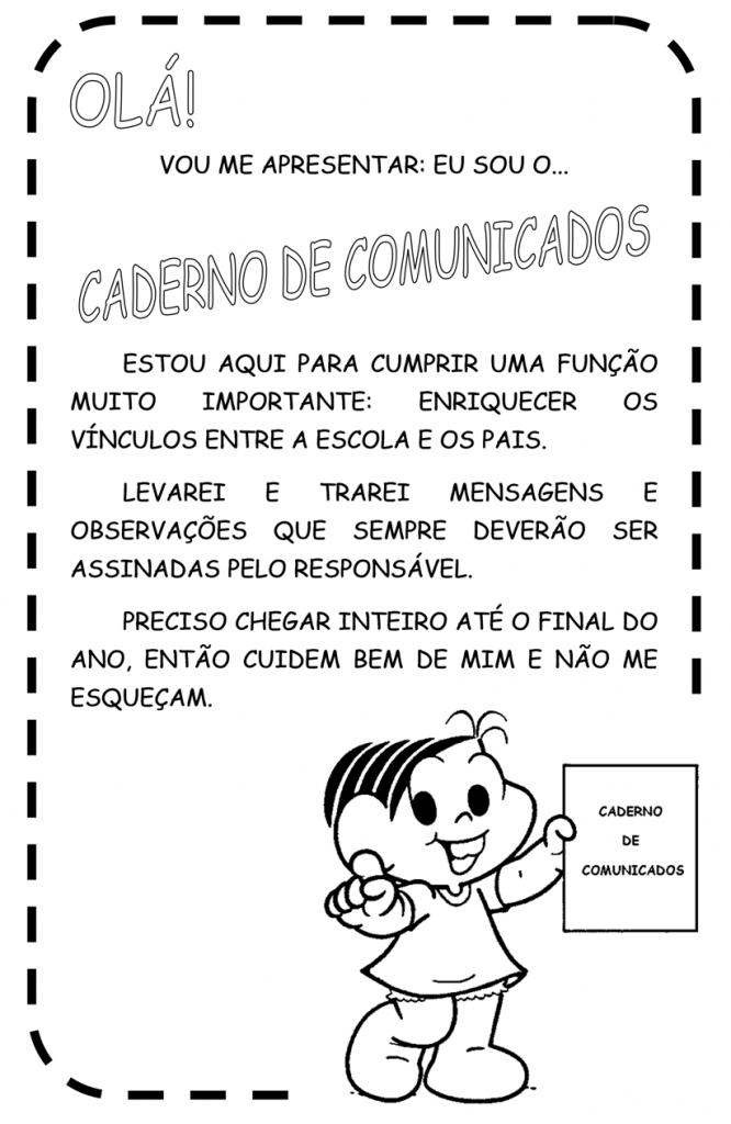 Folha para Caderno de comunicados
