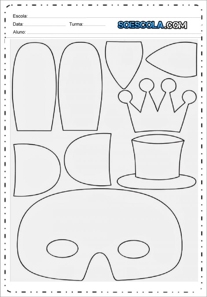 Moldes para Máscaras de Carnaval