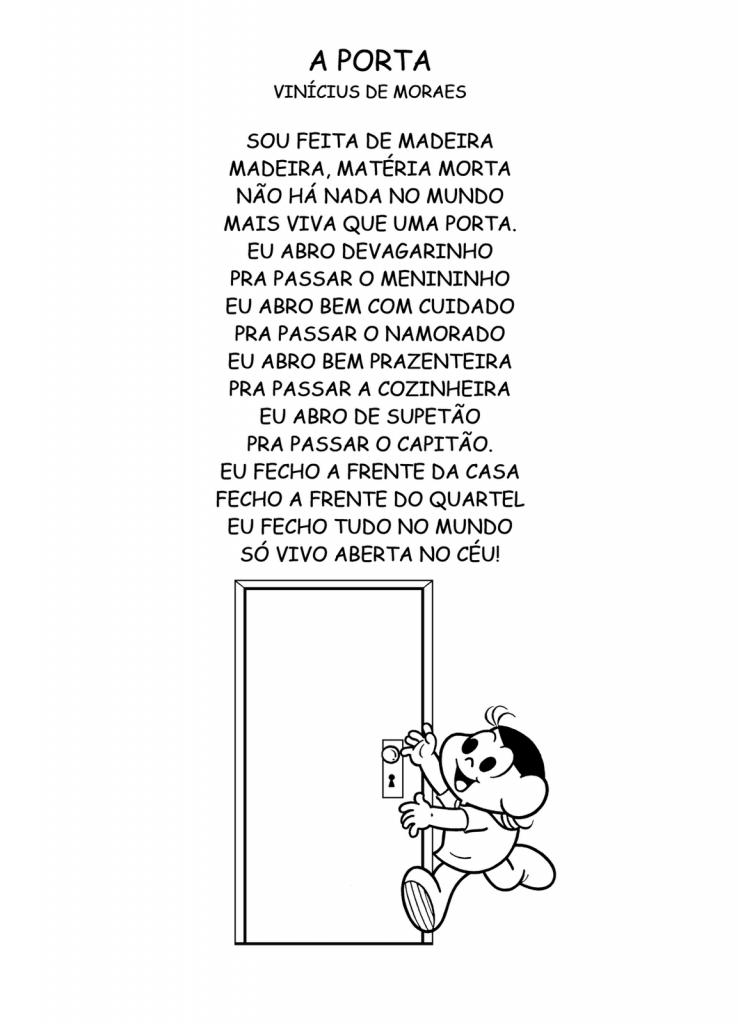 Poesia A Porta de Vinicius de Moraes para imprimir.