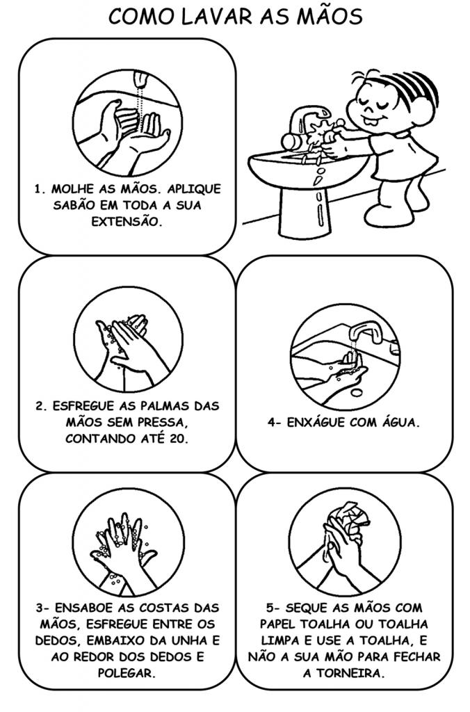 Aprendendo a lavar as mãos com a Turma da Mônica - Para imprimir