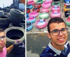 Homem reciclou centenas de velhos pneus e criou caminhas para cães de rua