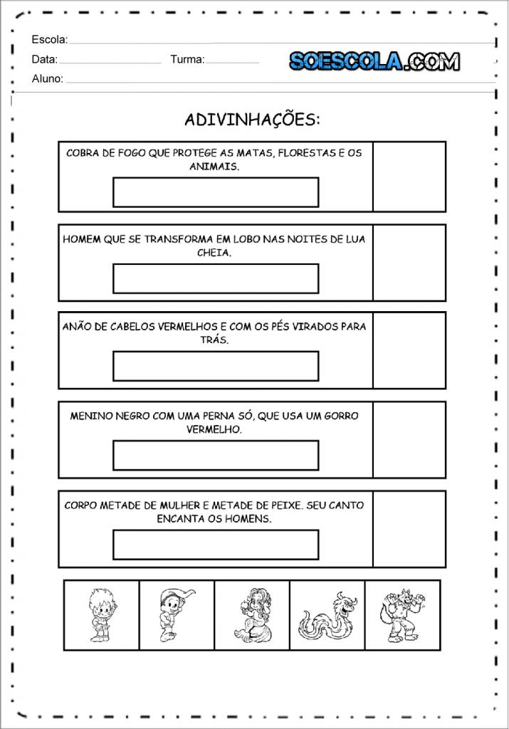 Atividade de Adivinhação sobre o Folclore para imprimir