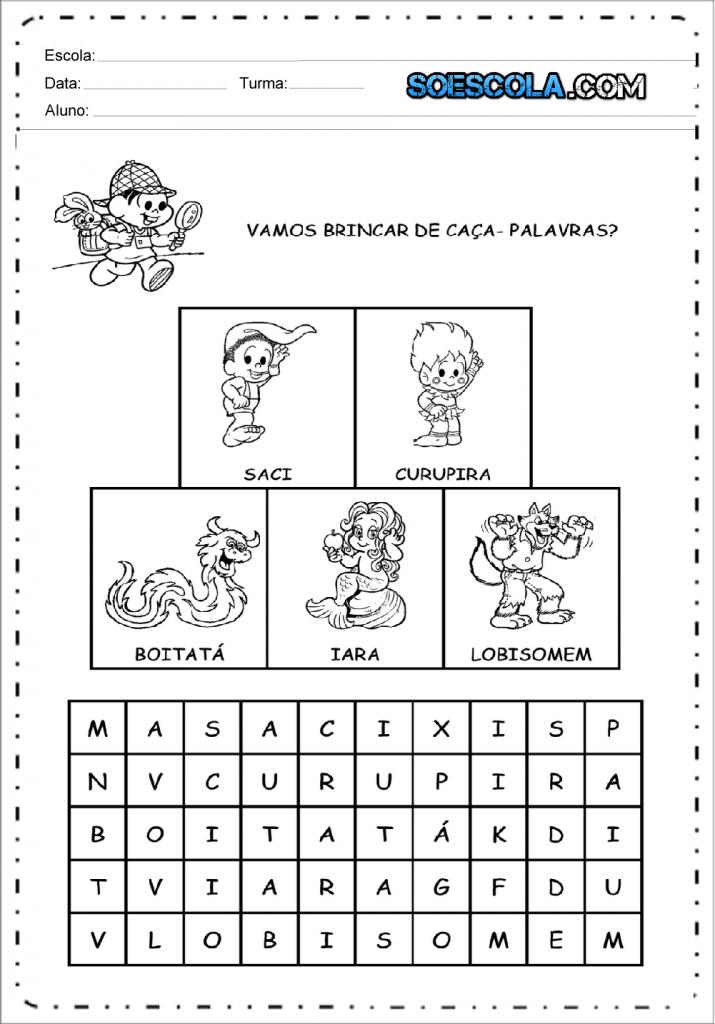 Caça palavras do folclore para imprimir