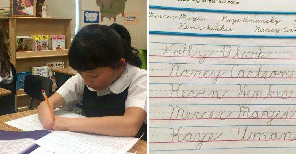 Menina que nasceu sem as mãos ganha competição de caligrafia