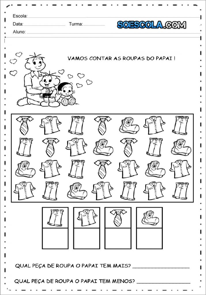 Atividade dia dos pais - Contar as roupas