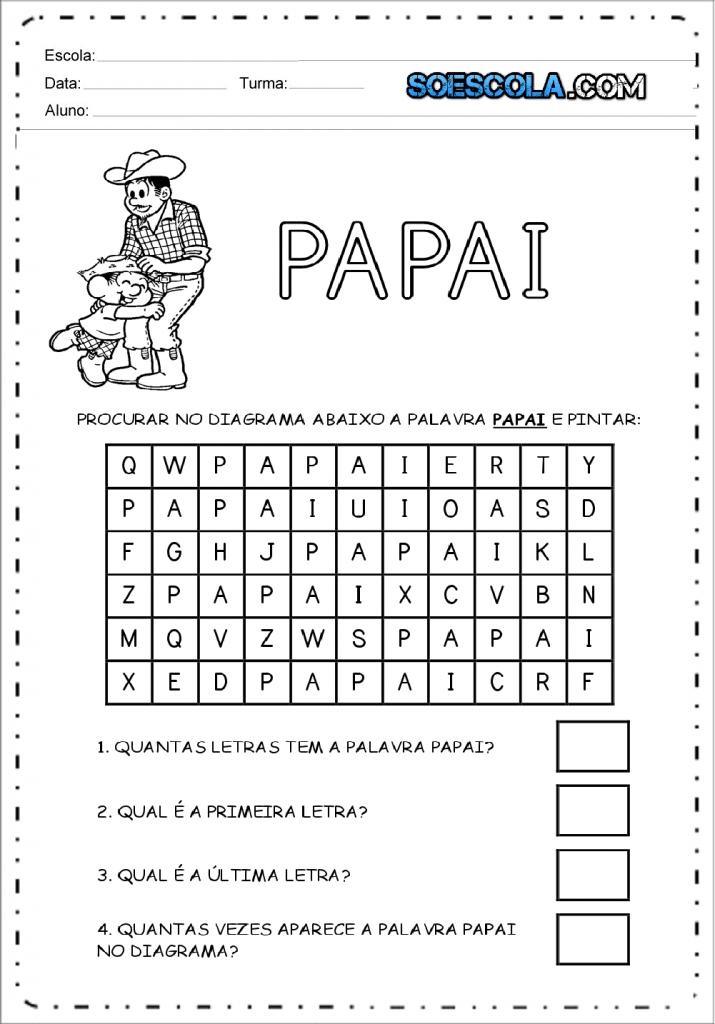 Atividade dia dos pais - Diagrama
