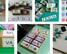 Ideias de Jogos para alfabetização com materiais recicláveis.