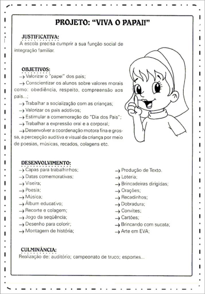 Projeto dia dos pais educação infantil para imprimir - Viva o Papai