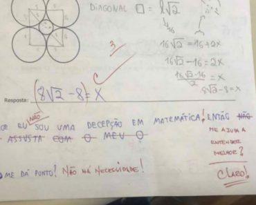 Professor fofo viraliza após desabafo de aluna em prova de matemática