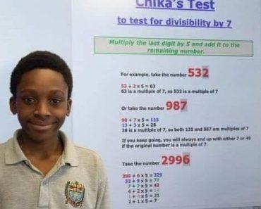 Nigeriano de 12 anos é premiado após descobrir nova formula de dividir na matemática
