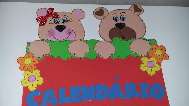 Mural de Calendário com tema ursinho