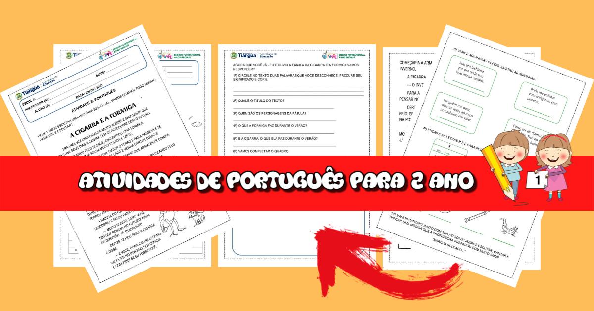 5 Atividades de Português para 2 ano