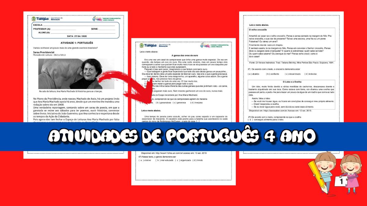 6 Atividades de Português para 4 ano