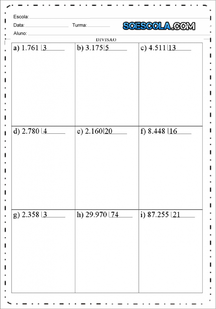 Atividades de Divisão para imprimir