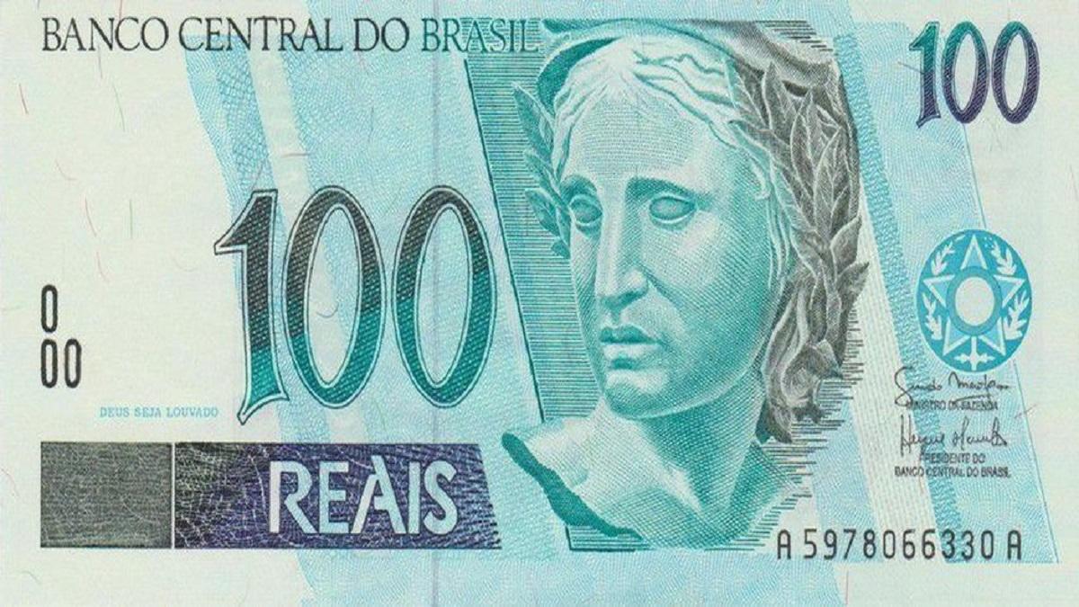 Cédulas de 100 reais para imprimir