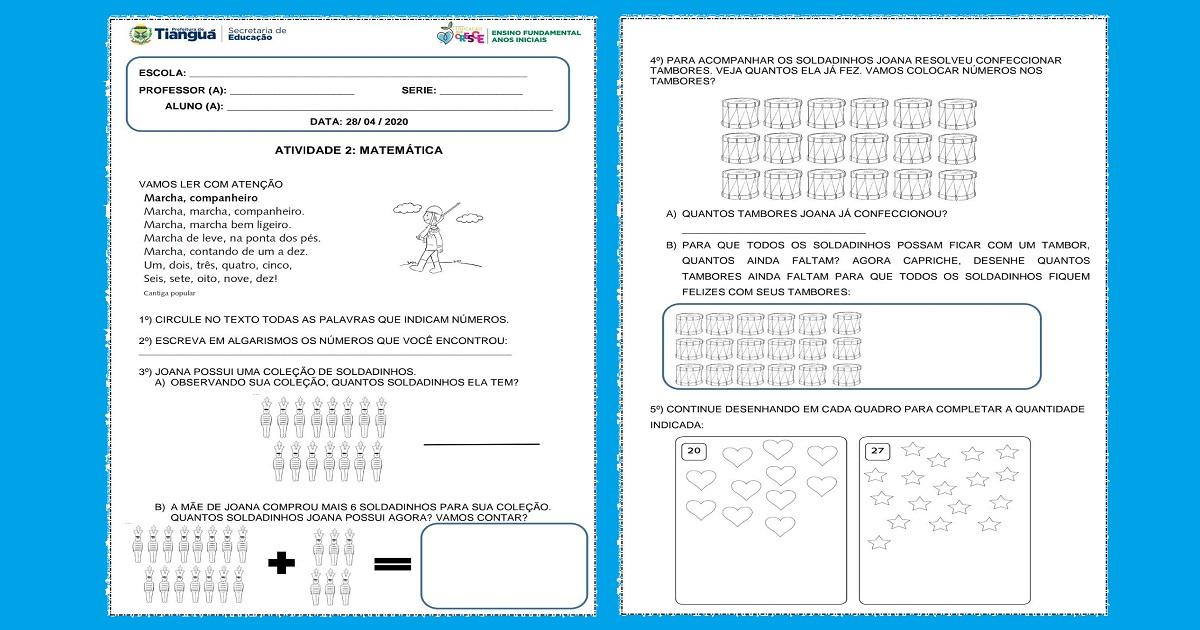 2 Atividades de Matemática para 1 ano