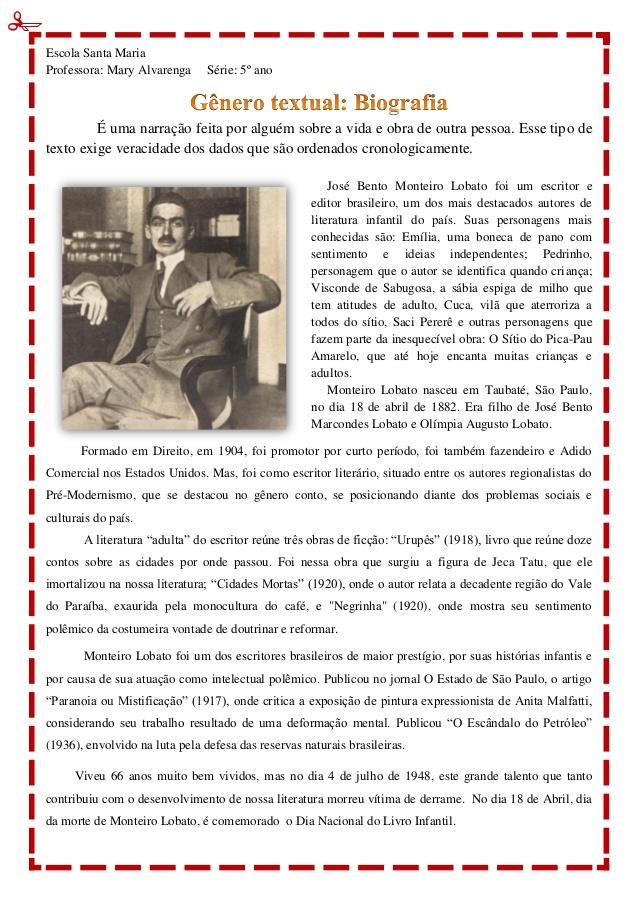 Atividades Gênero Textual Biografia - Para imprimir