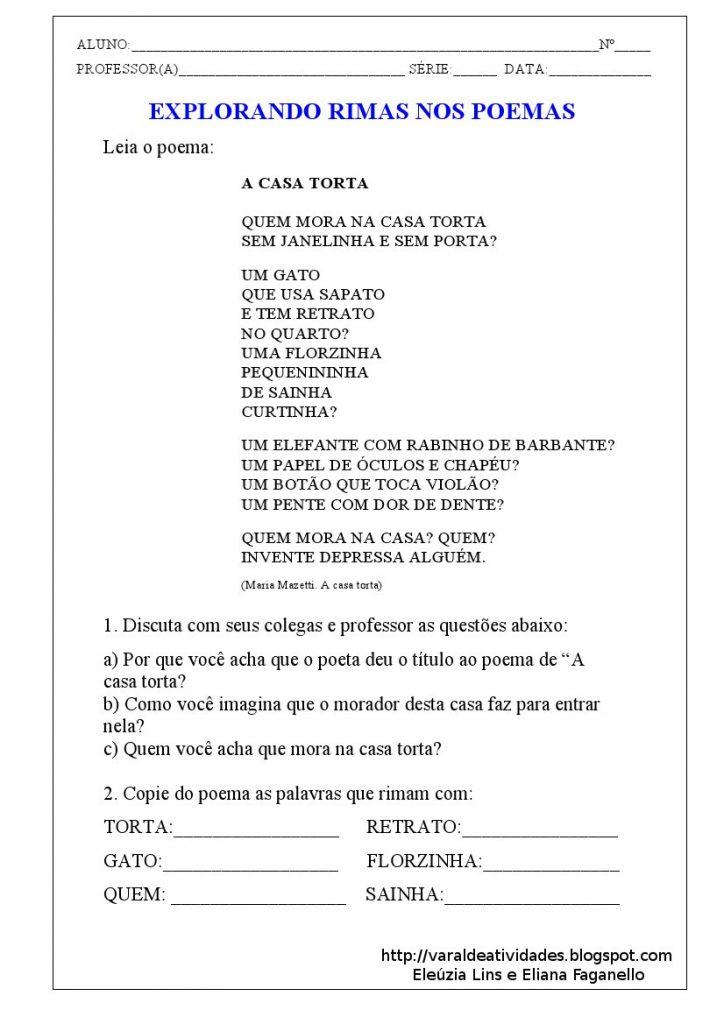 Atividades Gênero Textual Poesia -Atividade 01 - Folha 01