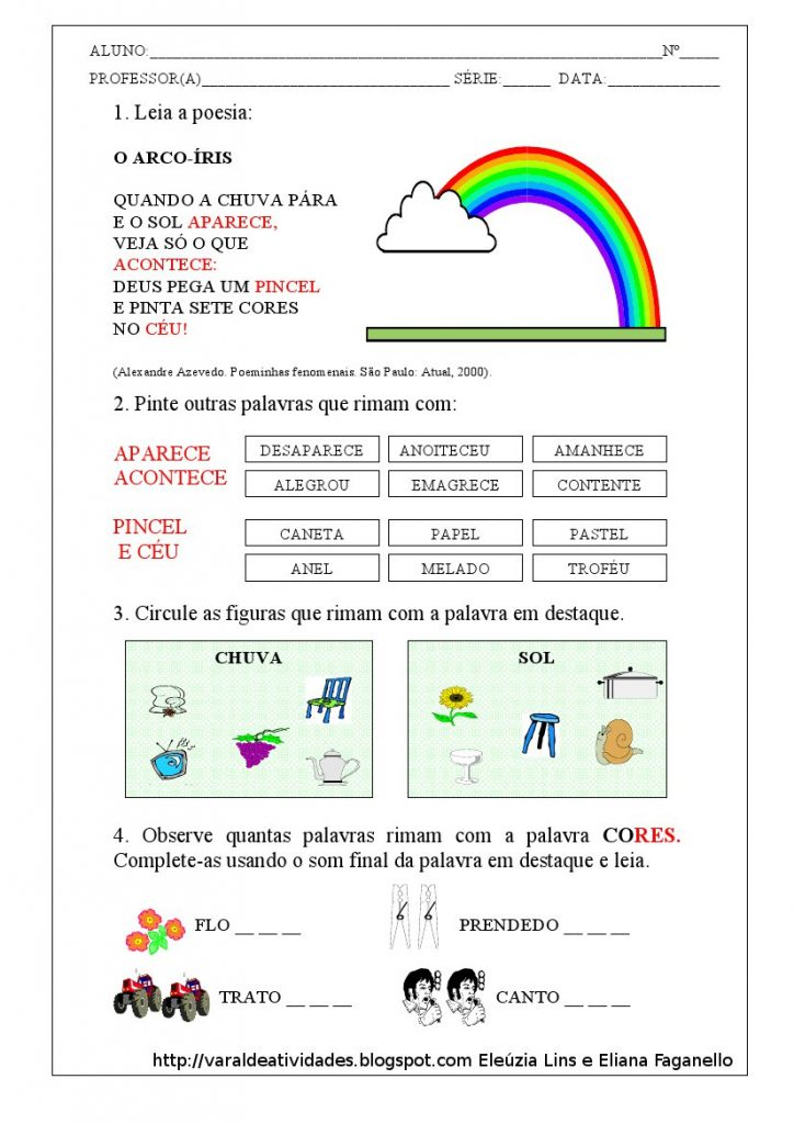 Atividades Gênero Textual Poesia -Atividade 01 - Folha 04