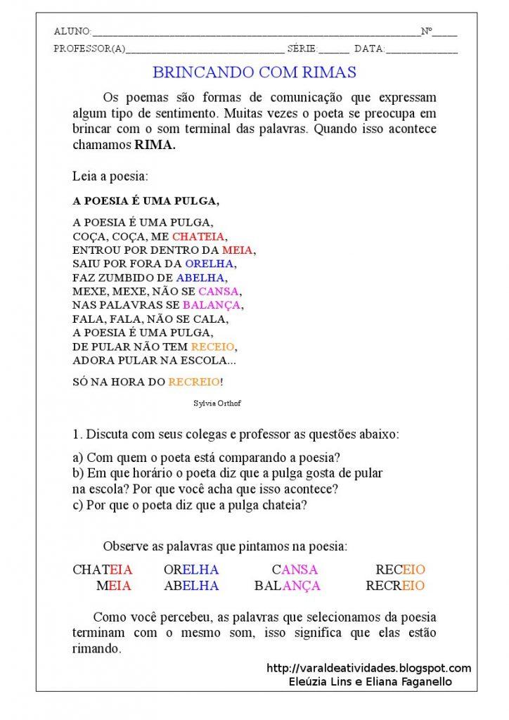 Atividades Gênero Textual Poesia