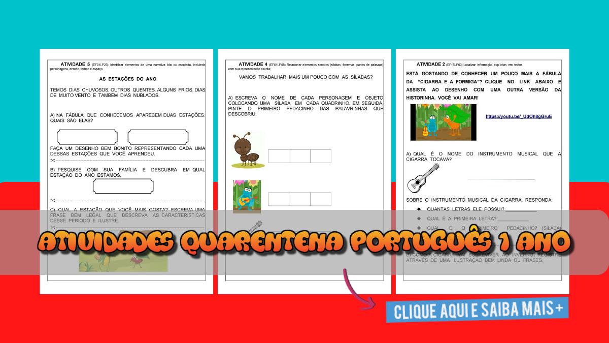 Atividades para Quarentena de Português 1 ano