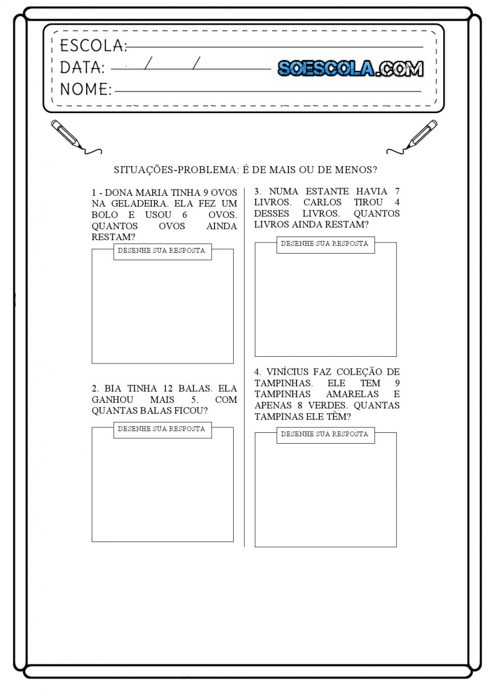 Situacoes Problemas De Matematica 1 Ano Para Imprimir Folha 01 So Escola